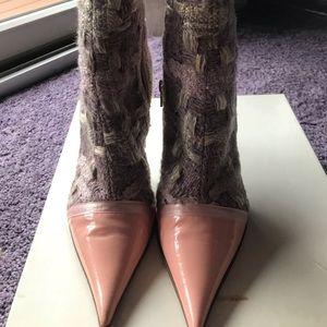 Casadei tweed/patent bootie
